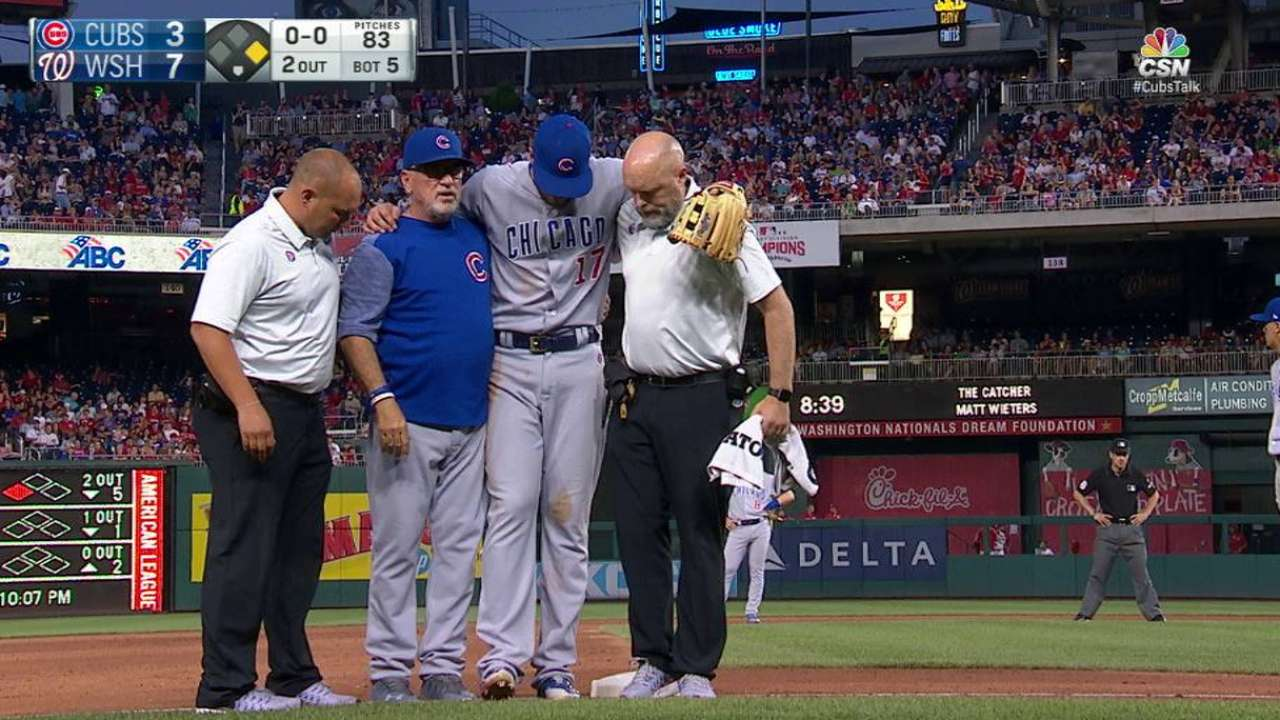 Bryant day to day after rolling ankle on third