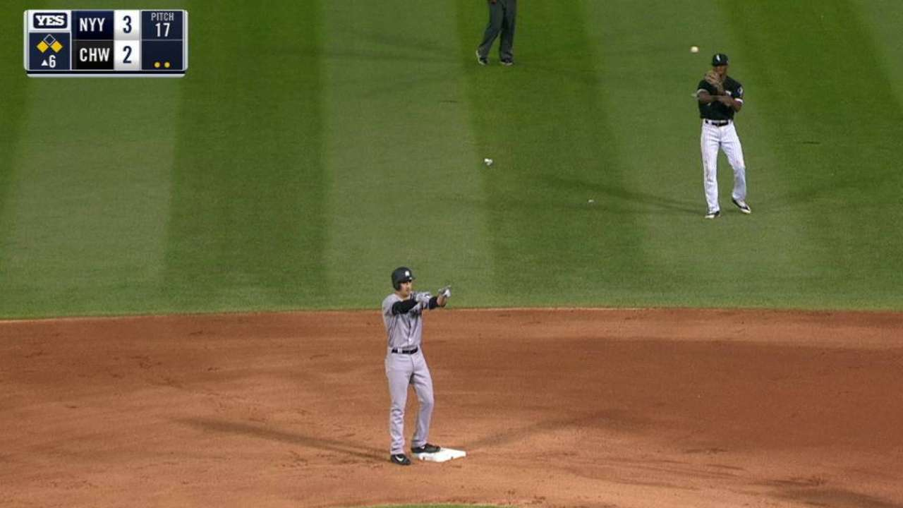 Wade's first hit produces a run