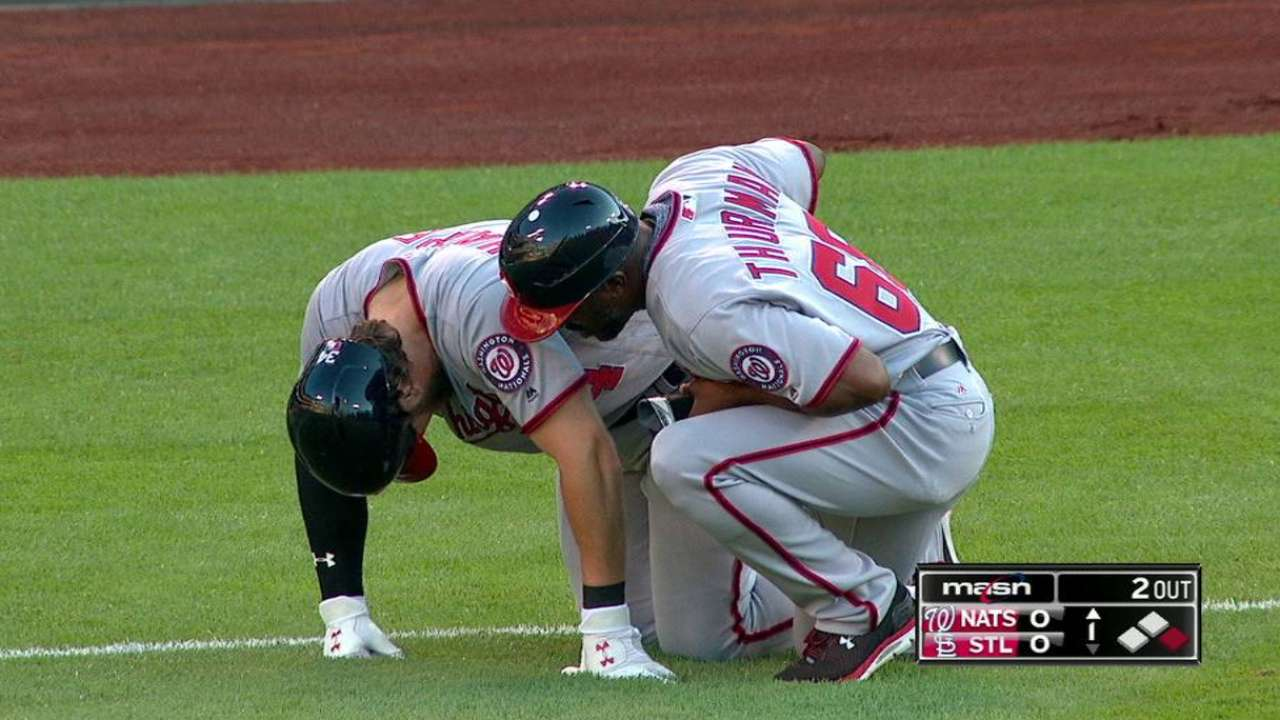 Harper injured, stays in game