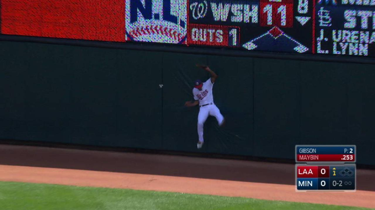 Buxton's leaping catch in center