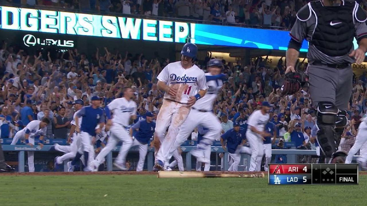Dodgers remontan en la 9na para barrer a los D-backs en L.A.