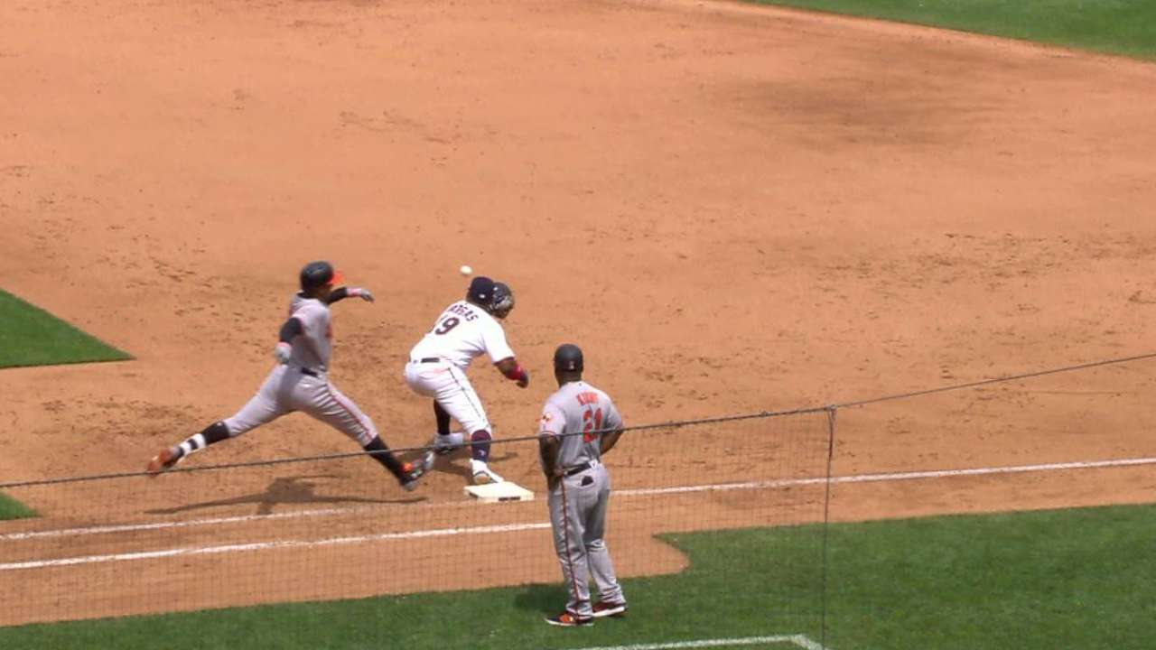 Polanco nabs Schoop at first