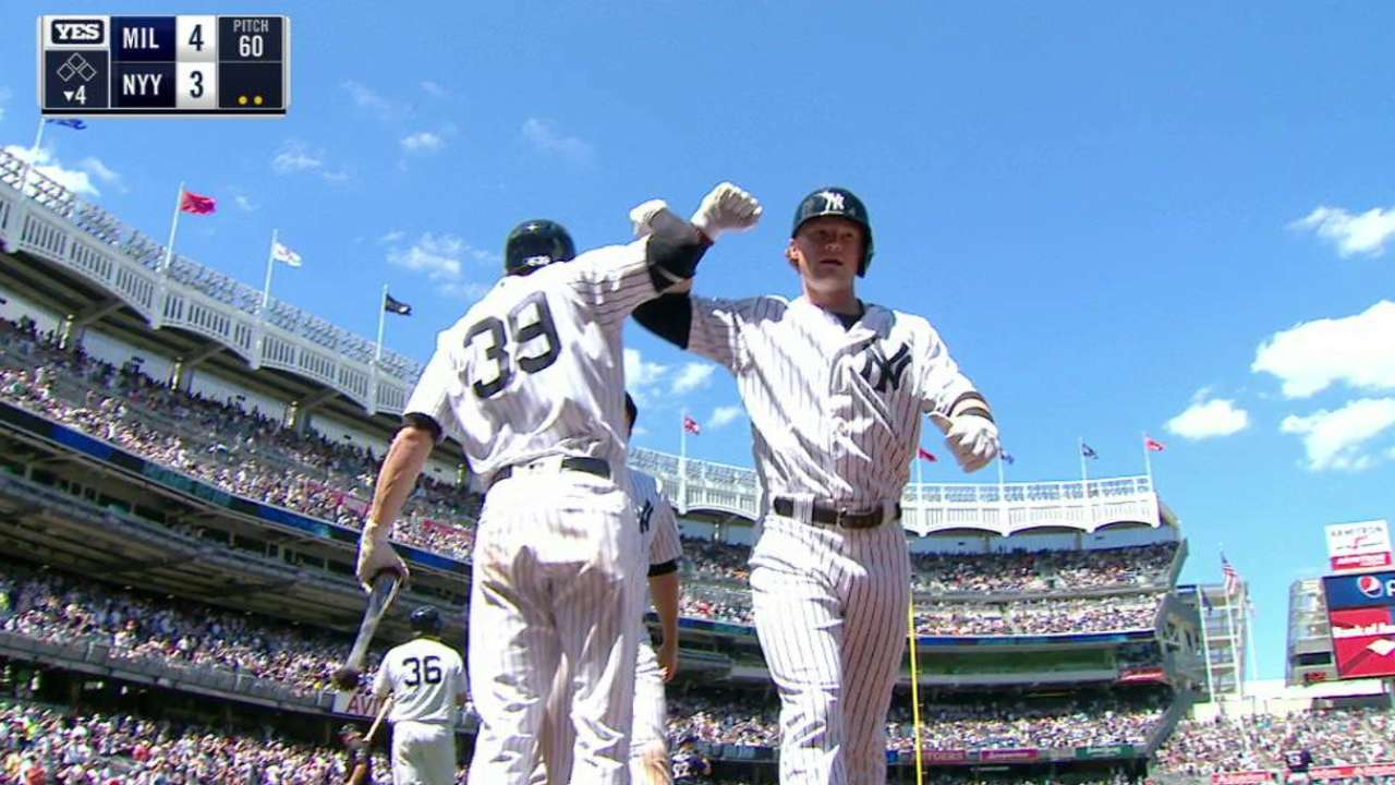 Frazier stays hot, but Yanks fall to Brewers