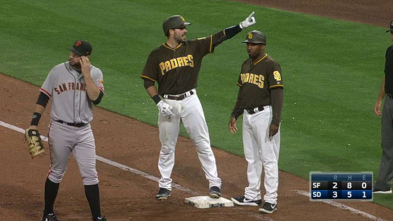 Padres let Giants escape in 2nd-half opener