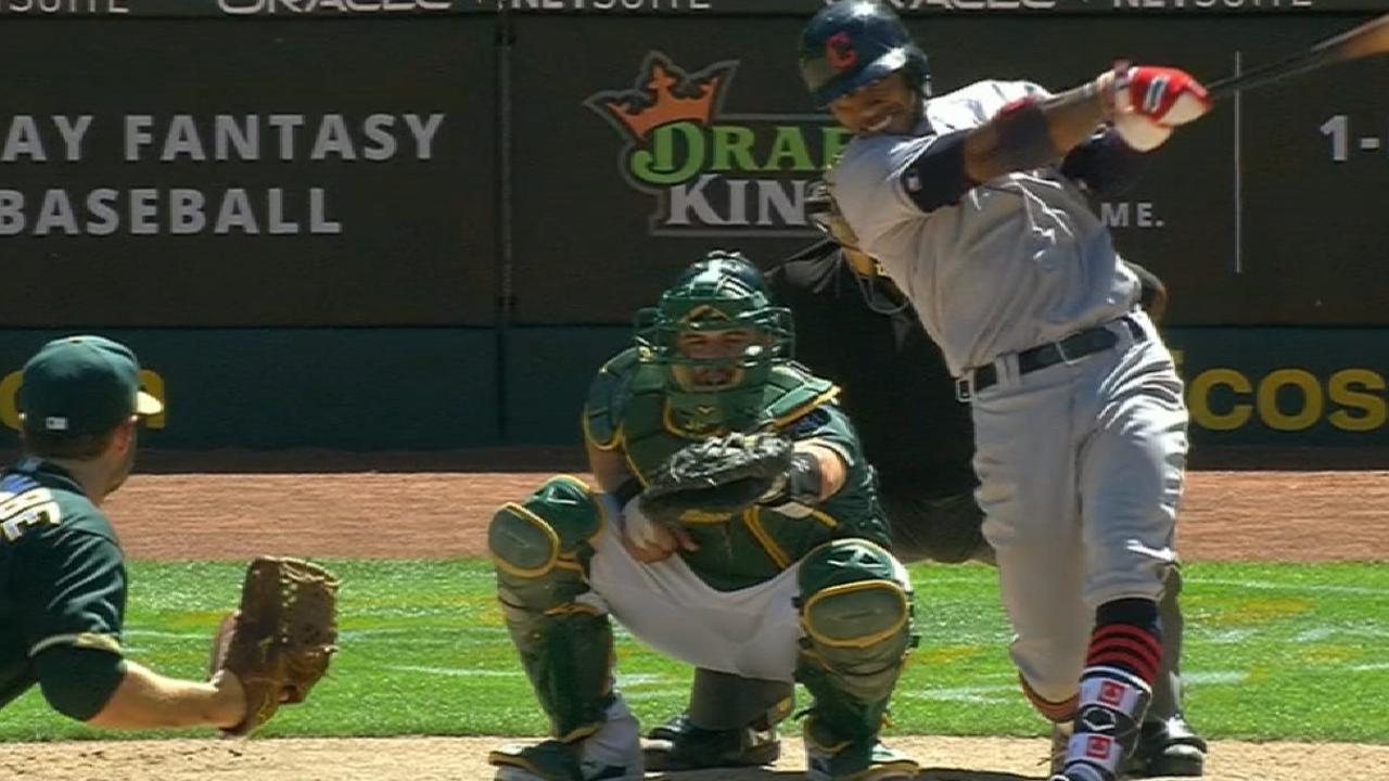 Lindor's 4 hits, Almonte's HR not enough vs. A's