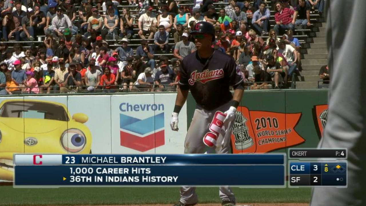 Brantley's 1,000th career hit