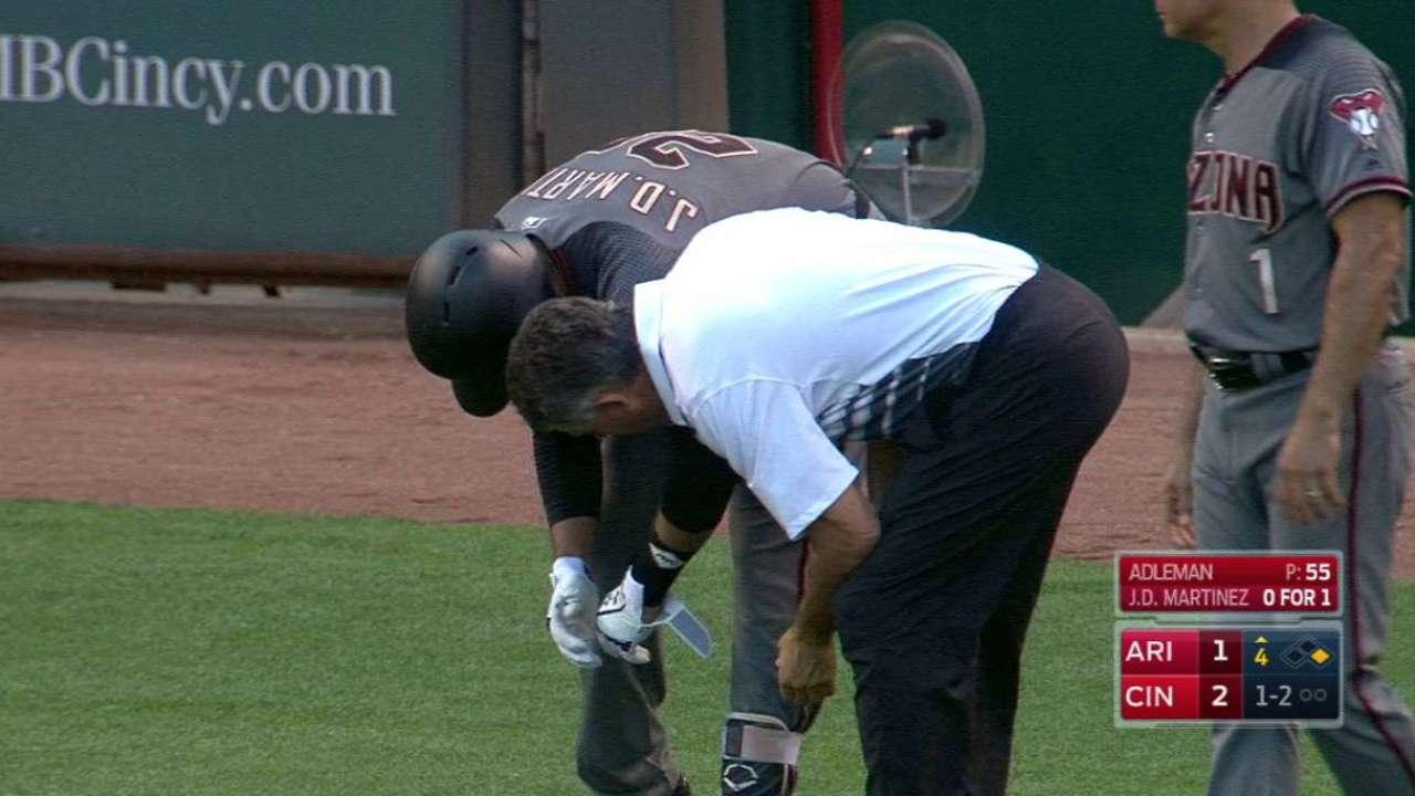 J.D. Martinez hit, leaves game