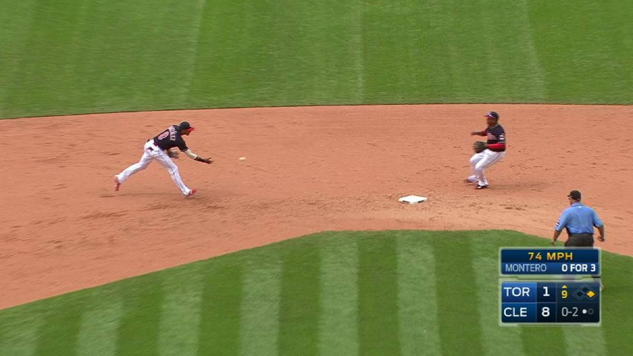 Indians end game on double play