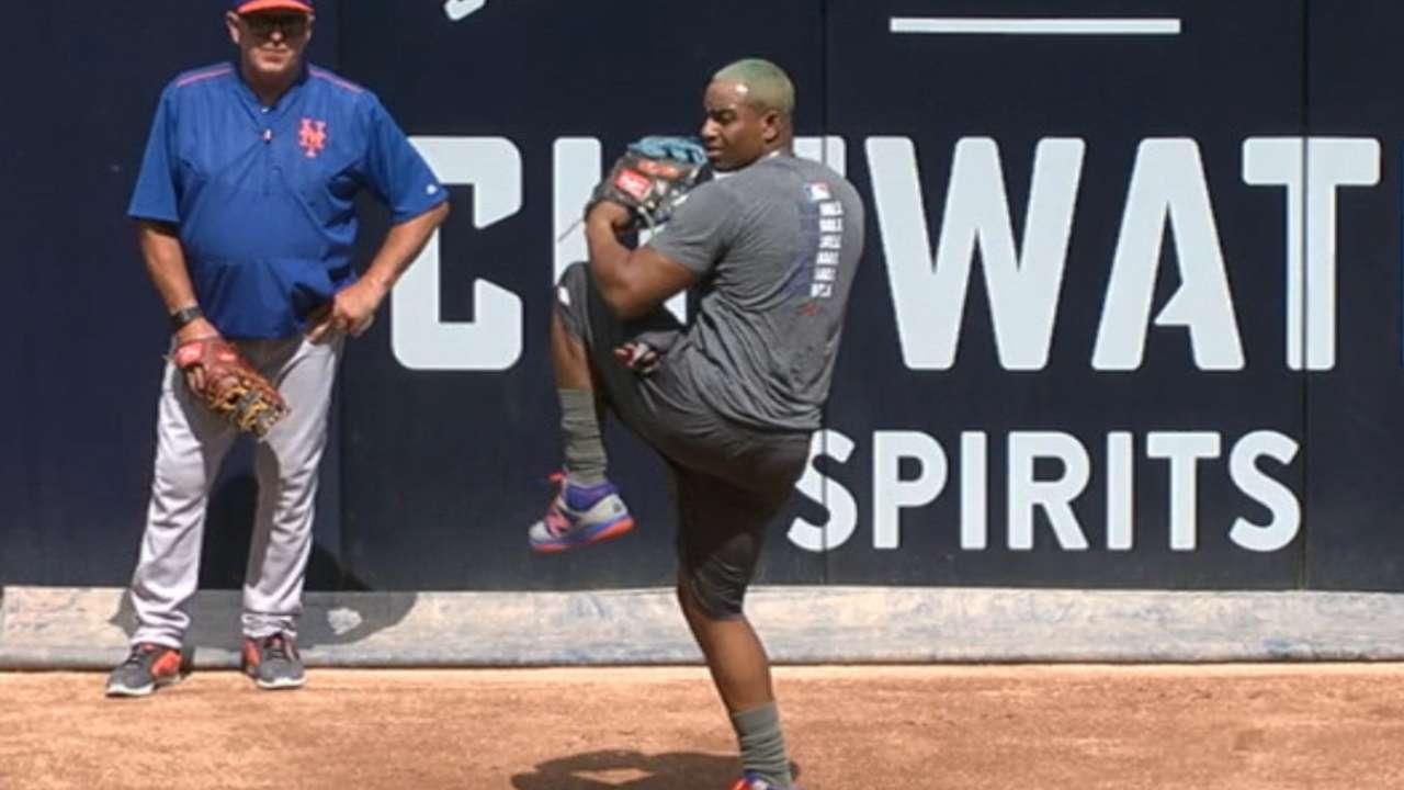 Yoenis Céspedes tiró una sesión del bullpen en San Diego