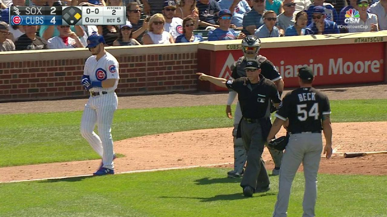Benches warned after Happ is hit