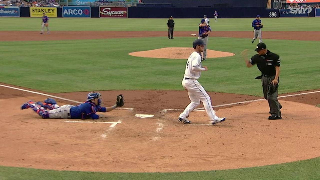 Flores throws Myers out at home