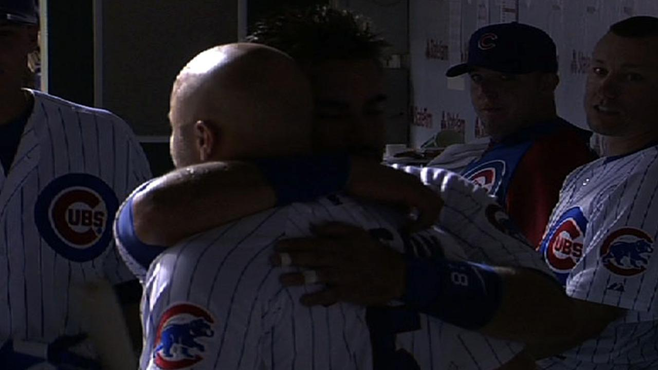 Johnson, Soto hug teammates