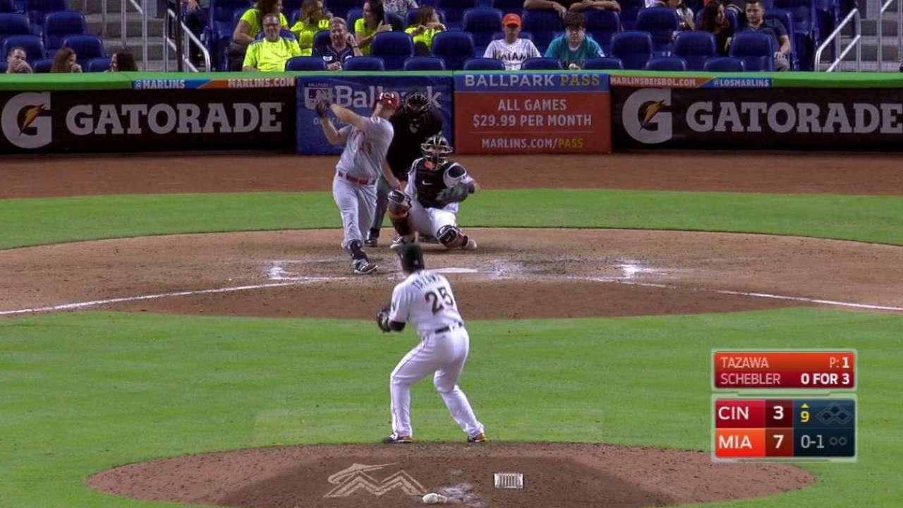 Schebler's upper-deck home run
