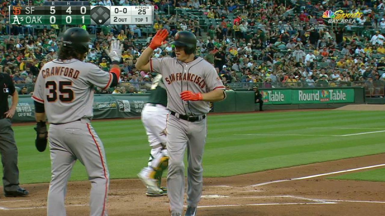 Early runs, big flies boost Giants past A's