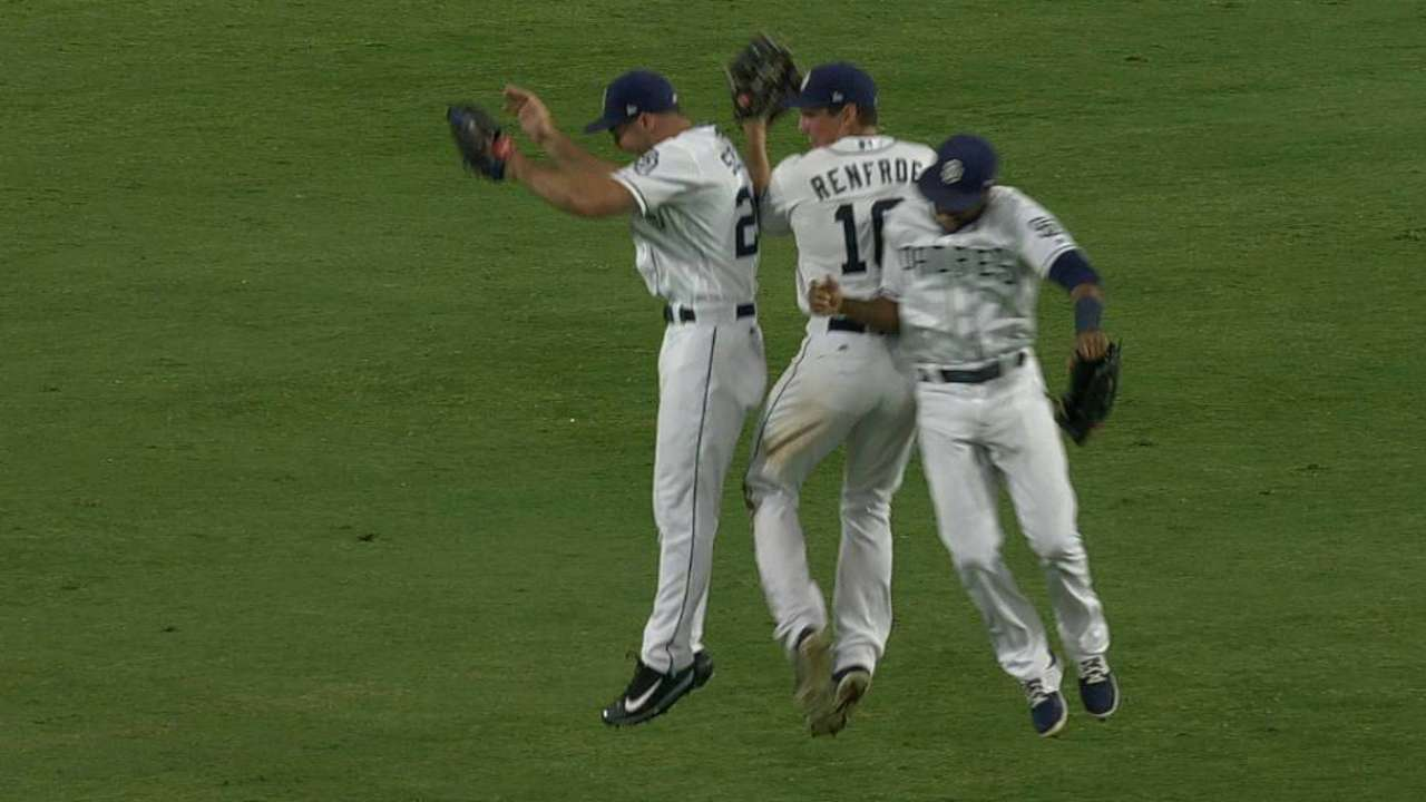 Hand induces fly out, earns save