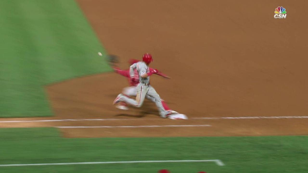 Hernandez safe at first base