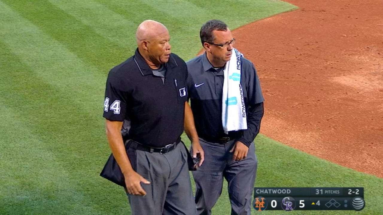 Plate umpire Danley exits Mets-Rockies game