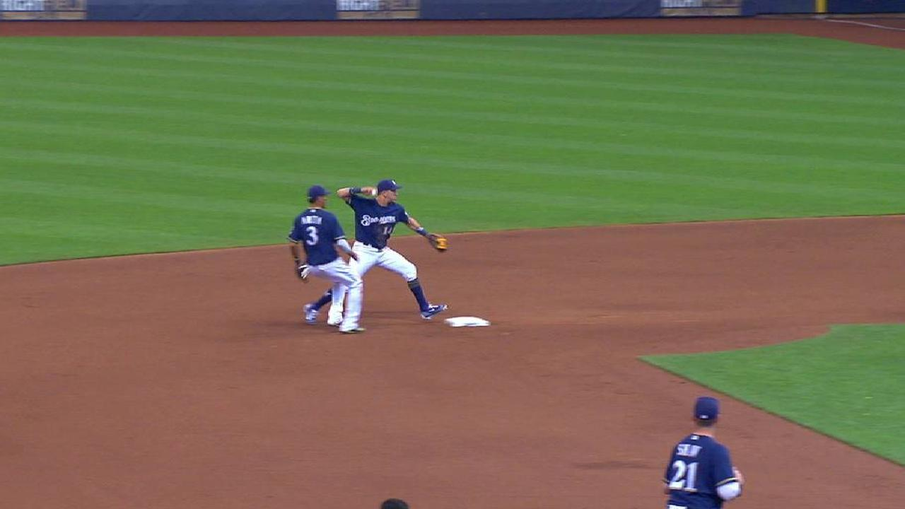Perez starts a double play