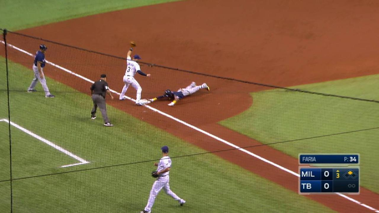 Arcia leads off 3rd with triple