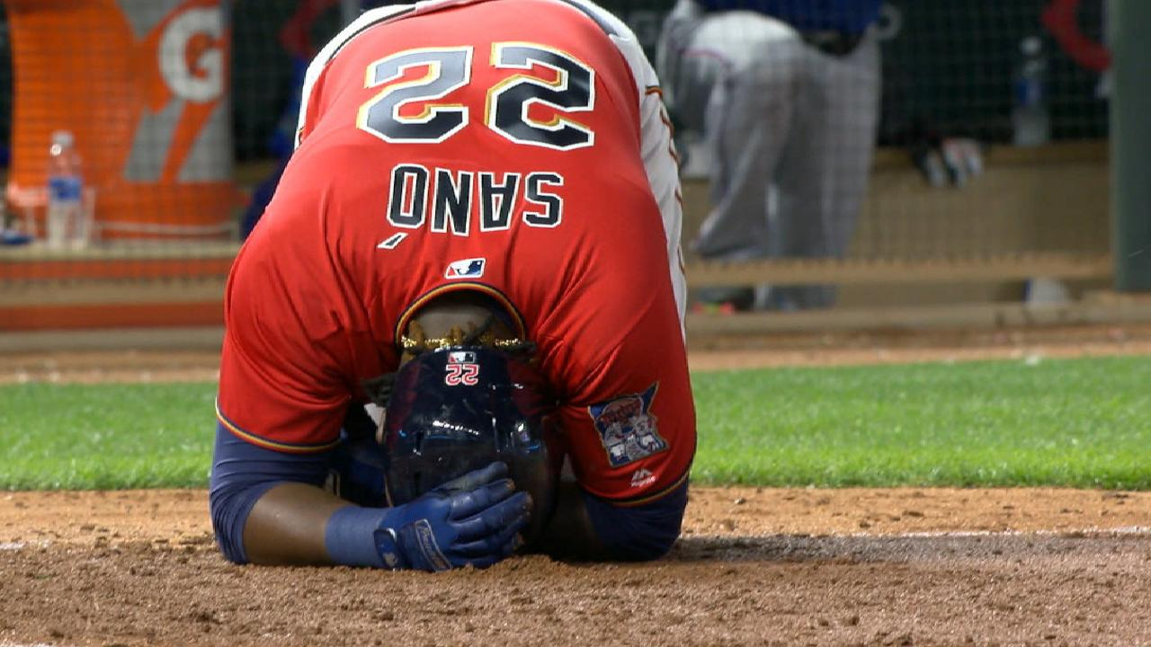 Sano gets breather following HBP on left hand