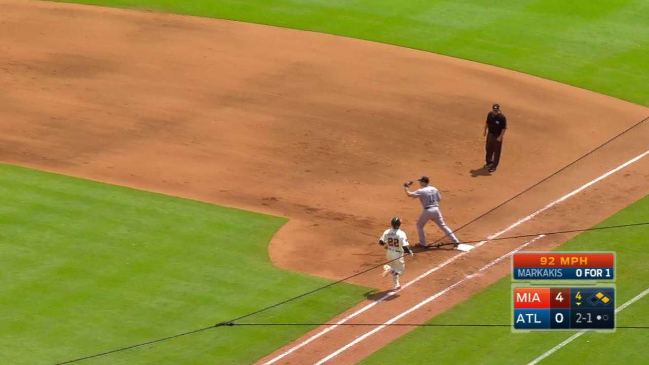 Marlins turn slick double play