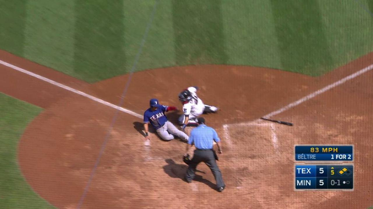 Twins tag Choo out at home