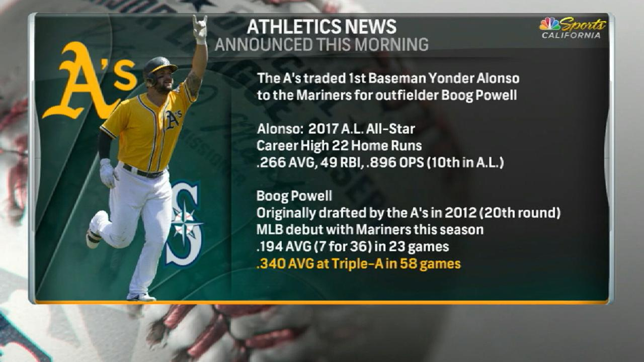 A's deal Alonso to Seattle, get prospect Powell