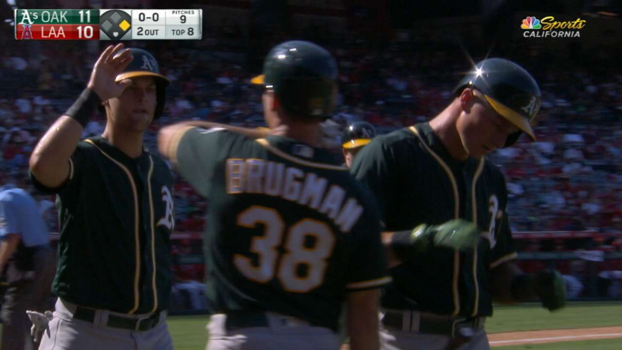 Athletics' five-run 8th inning