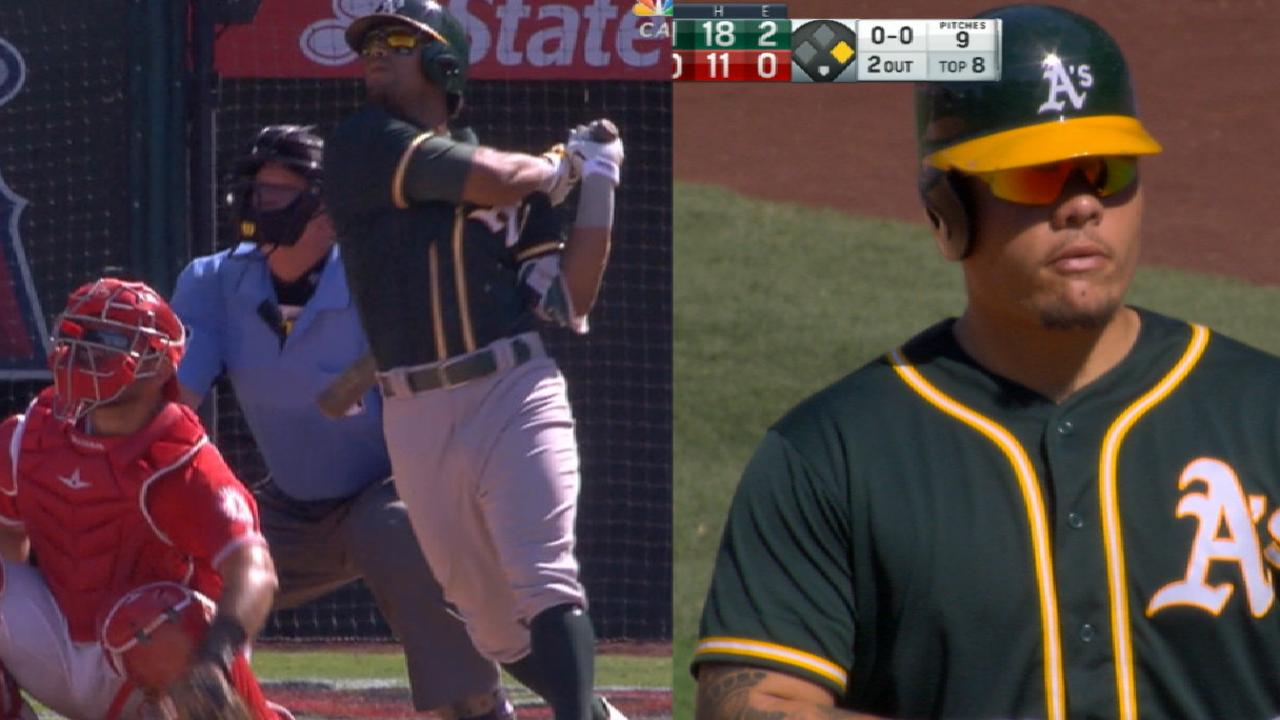 A's erase five-run deficit to outslug Angels
