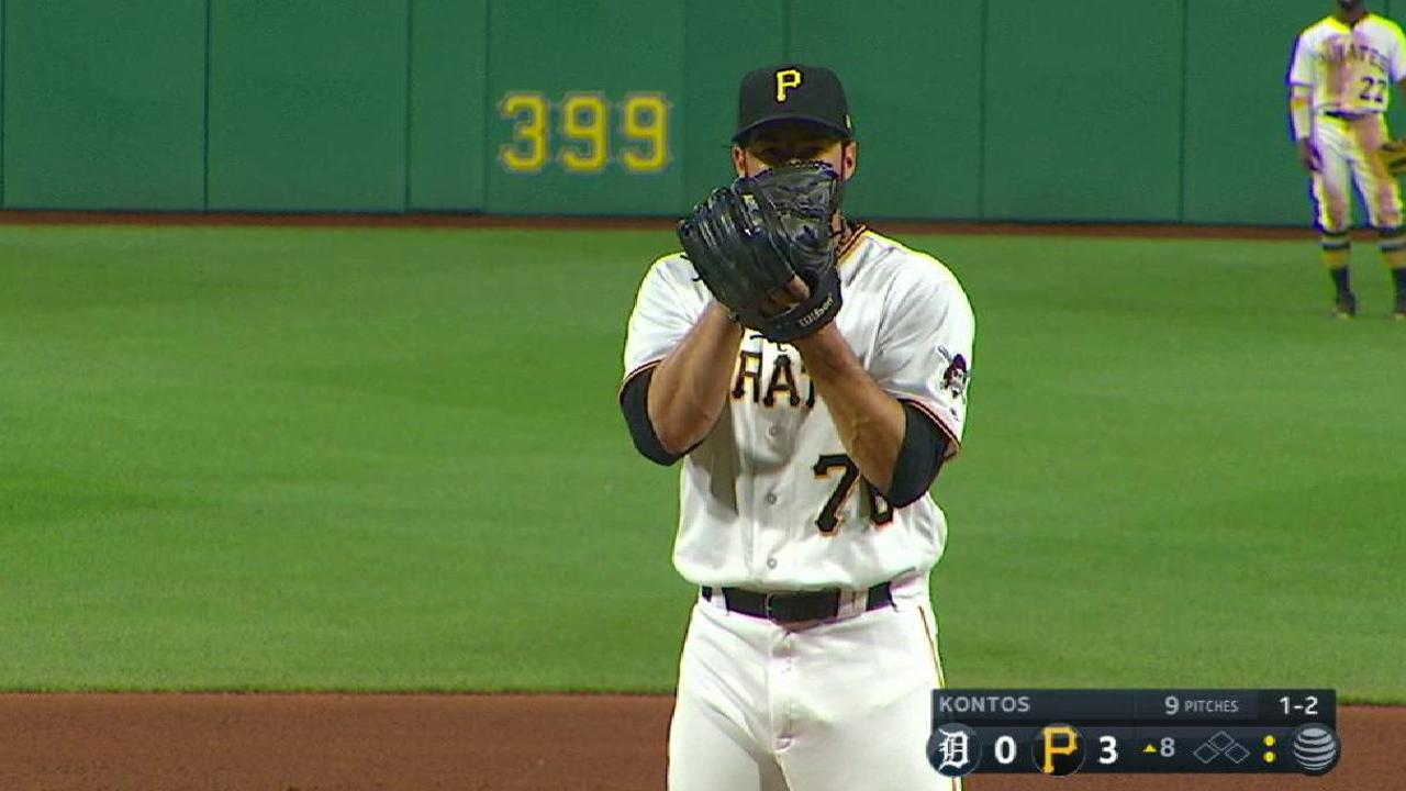 Kontos tosses perfect 8th in Pirates' debut