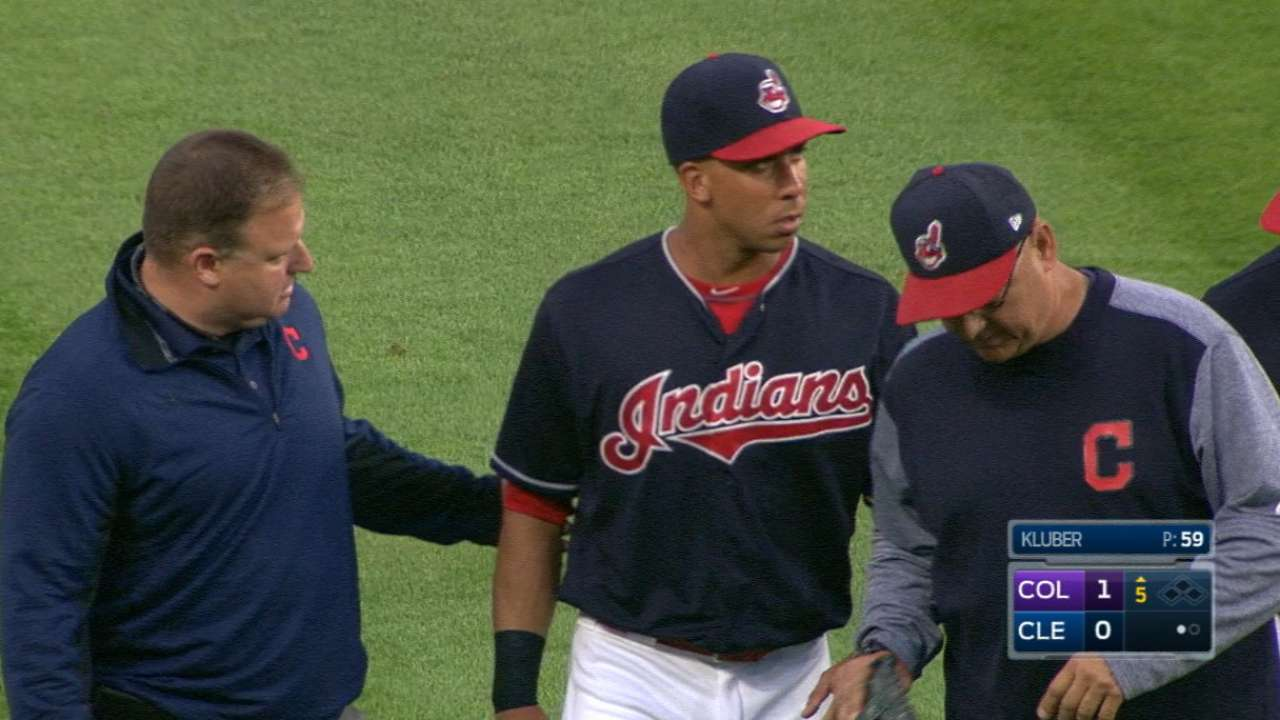 Brantley exits game with injury