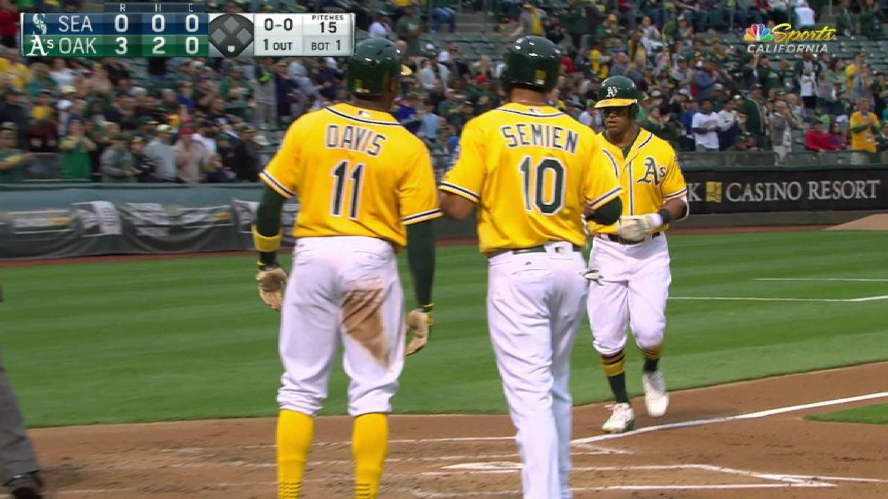 A's can't hold early lead vs. Mariners
