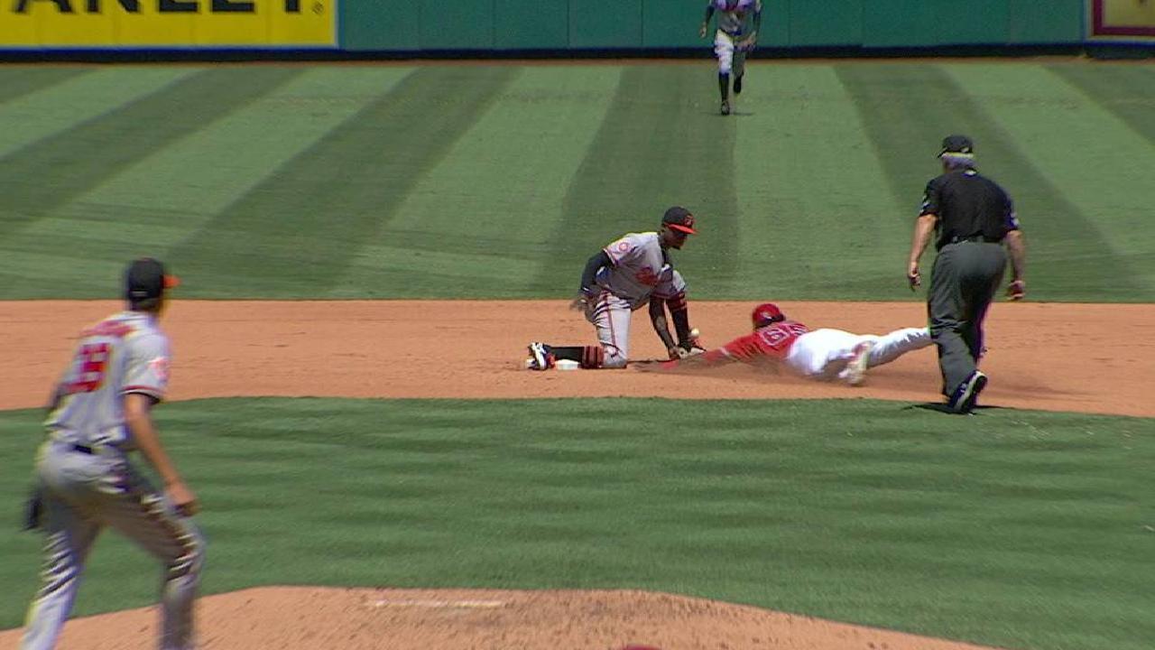 Puello's first MLB stolen base