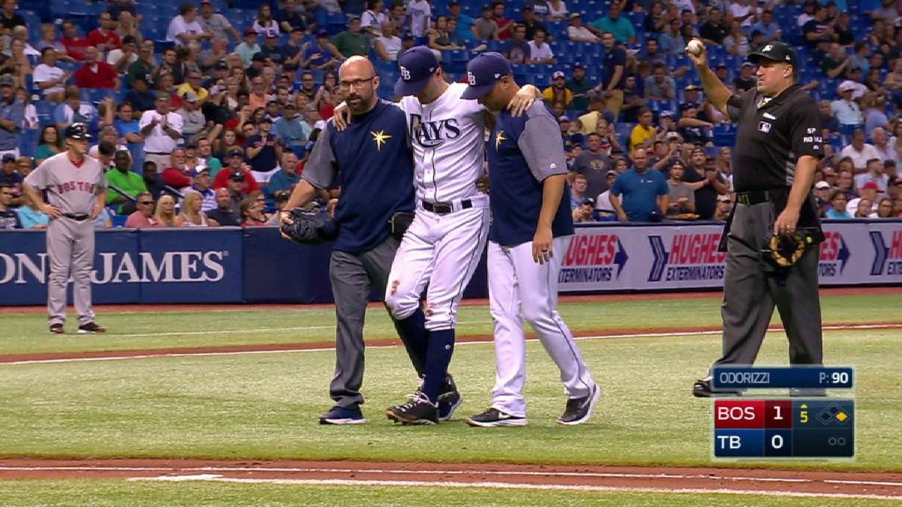 Odorizzi day to day with bruised right foot