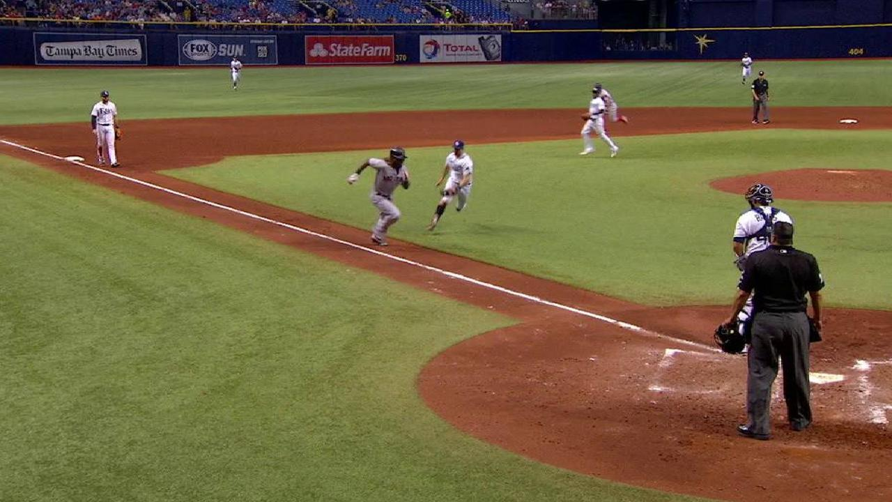 Miller tags out Ramirez at home