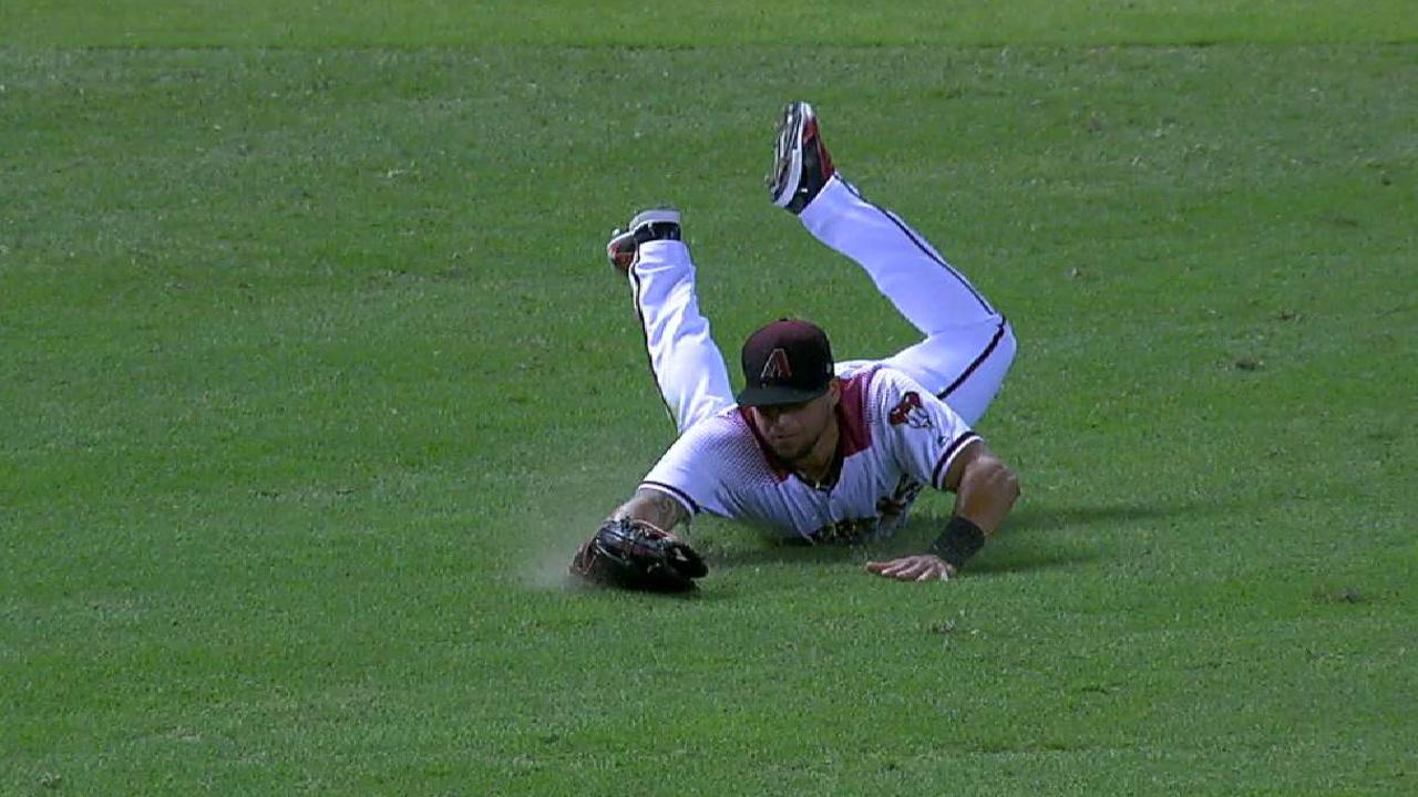 Peralta's diving catch in left