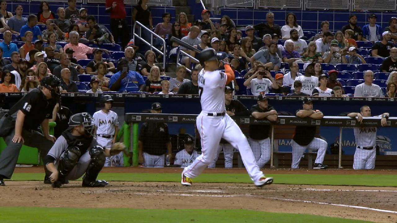 Marlins rally vs. Rox behind Stanton's 40th HR