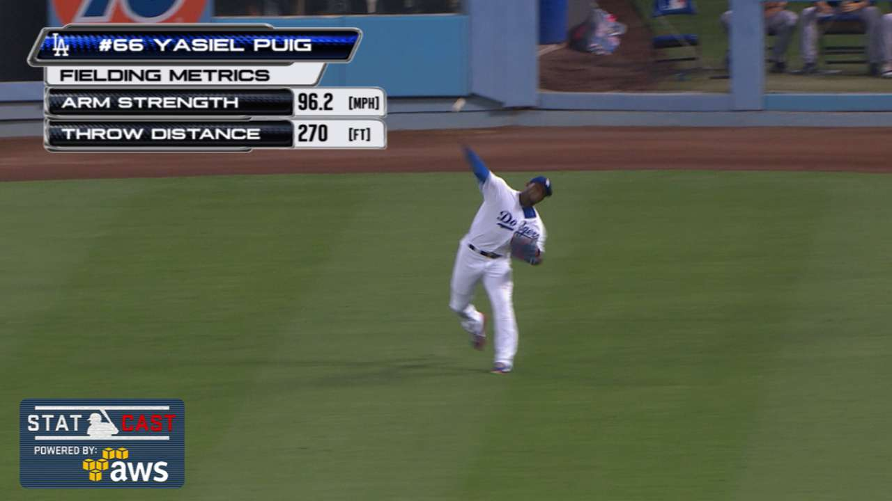 Statcast: Puig's 96-mph throw