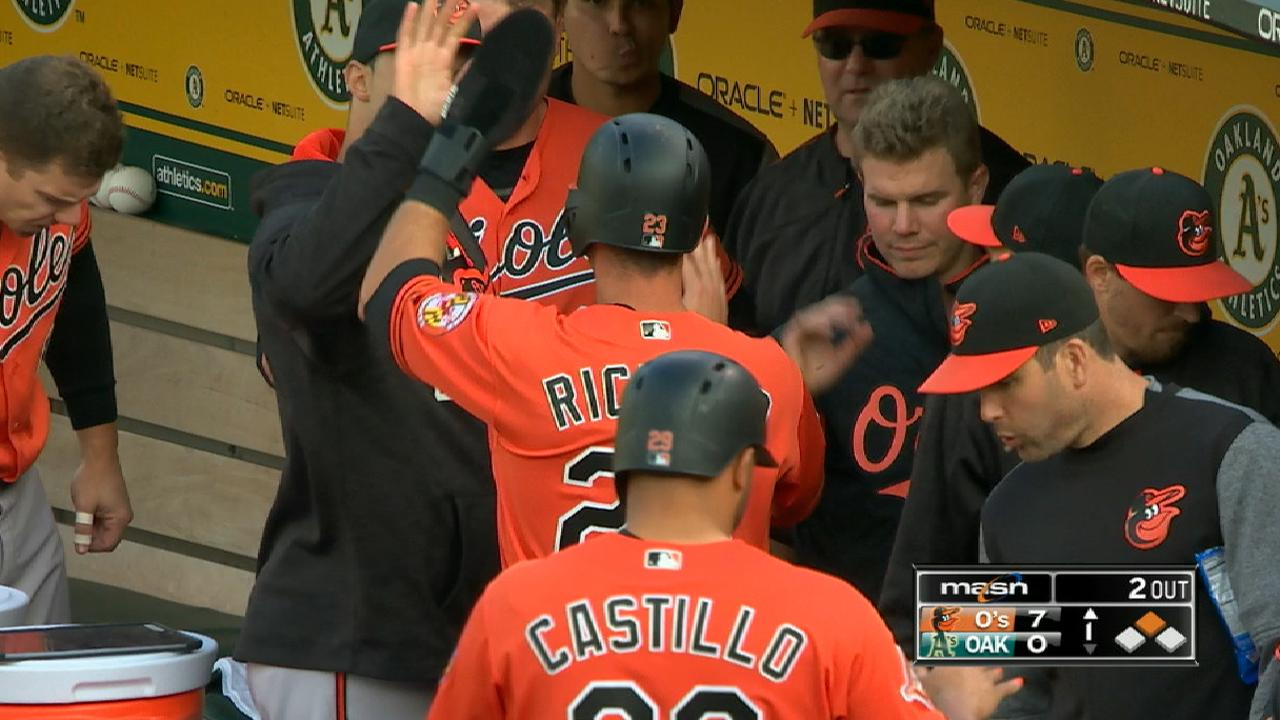 Orioles pounce on A's in first en route to rout