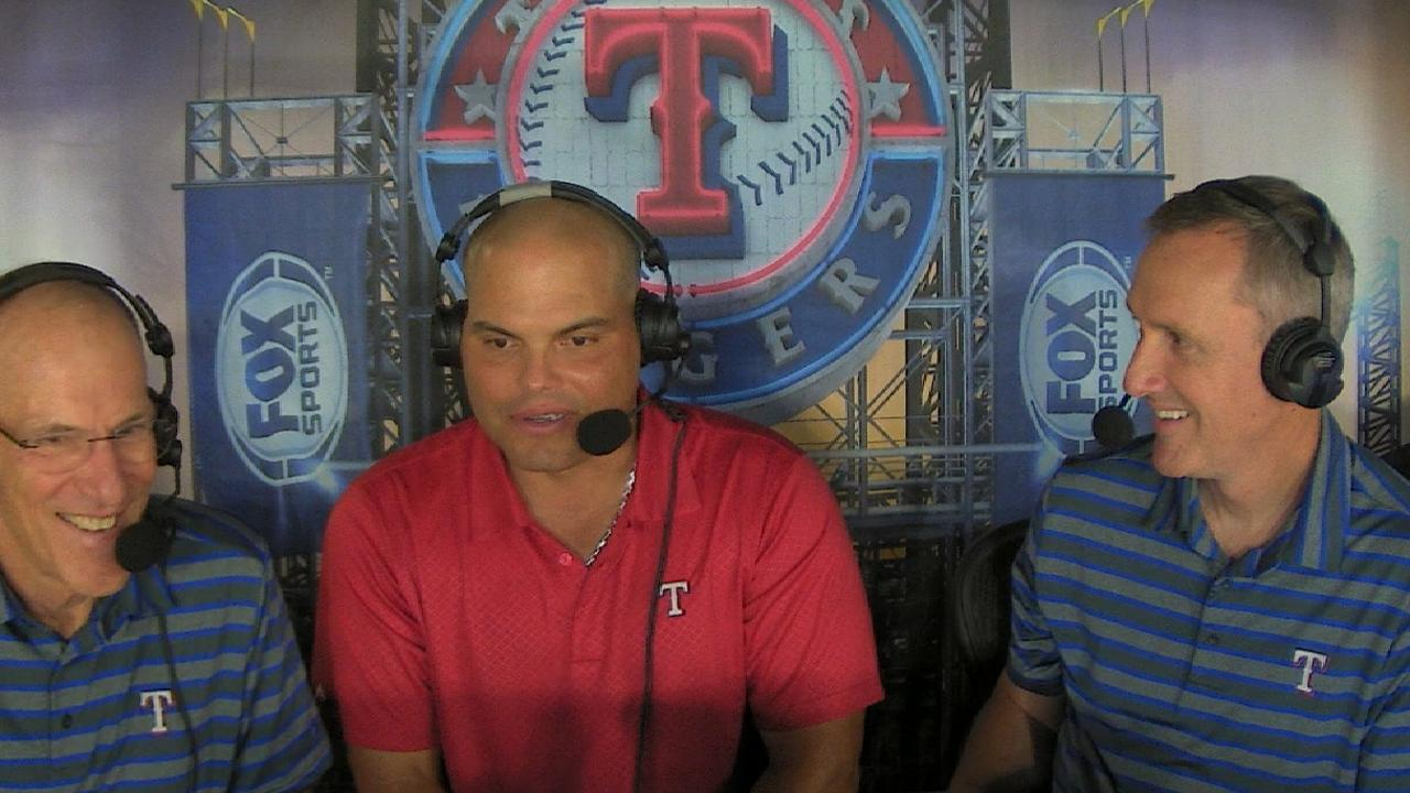 Pudge joins the Rangers booth