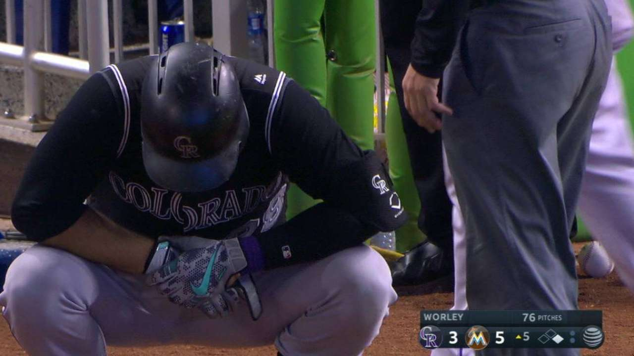 X-rays negative after Arenado hit on hand