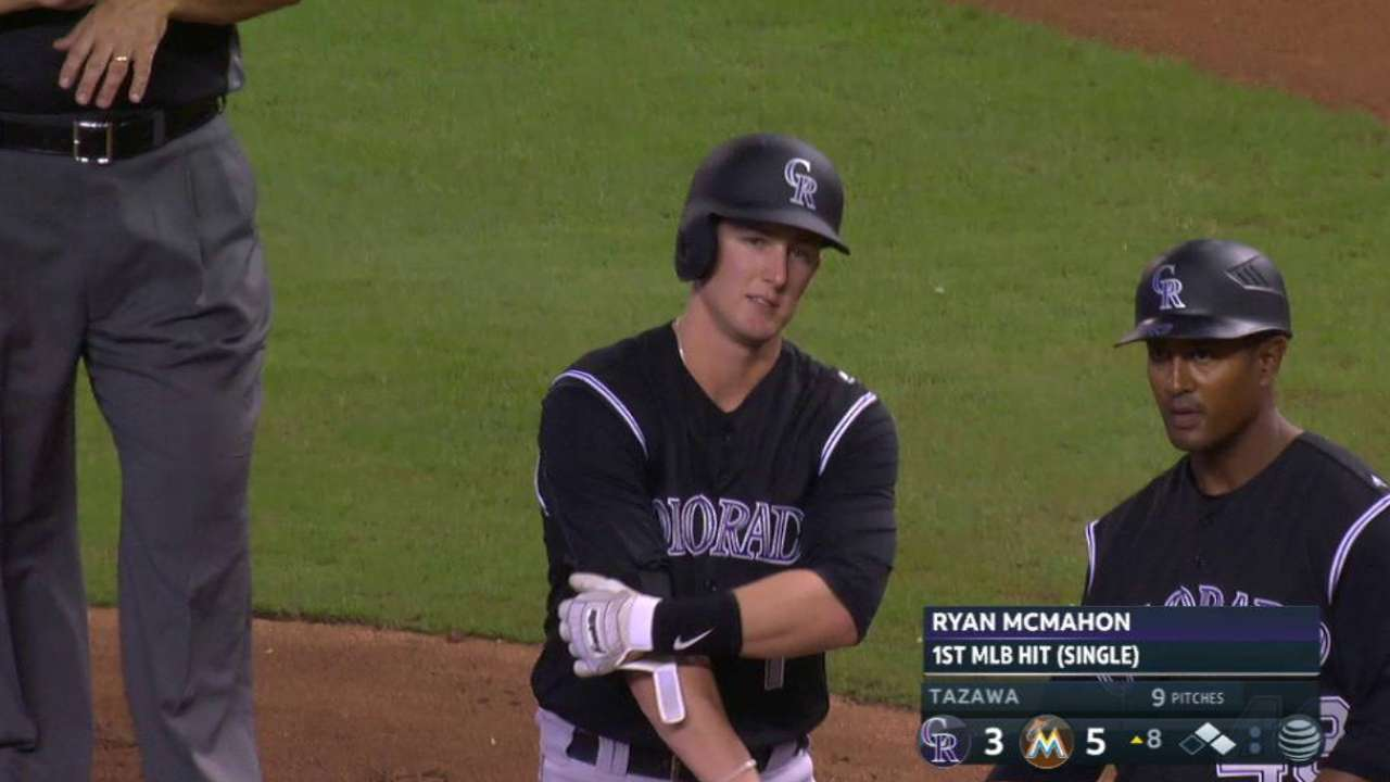 McMahon's first career hit