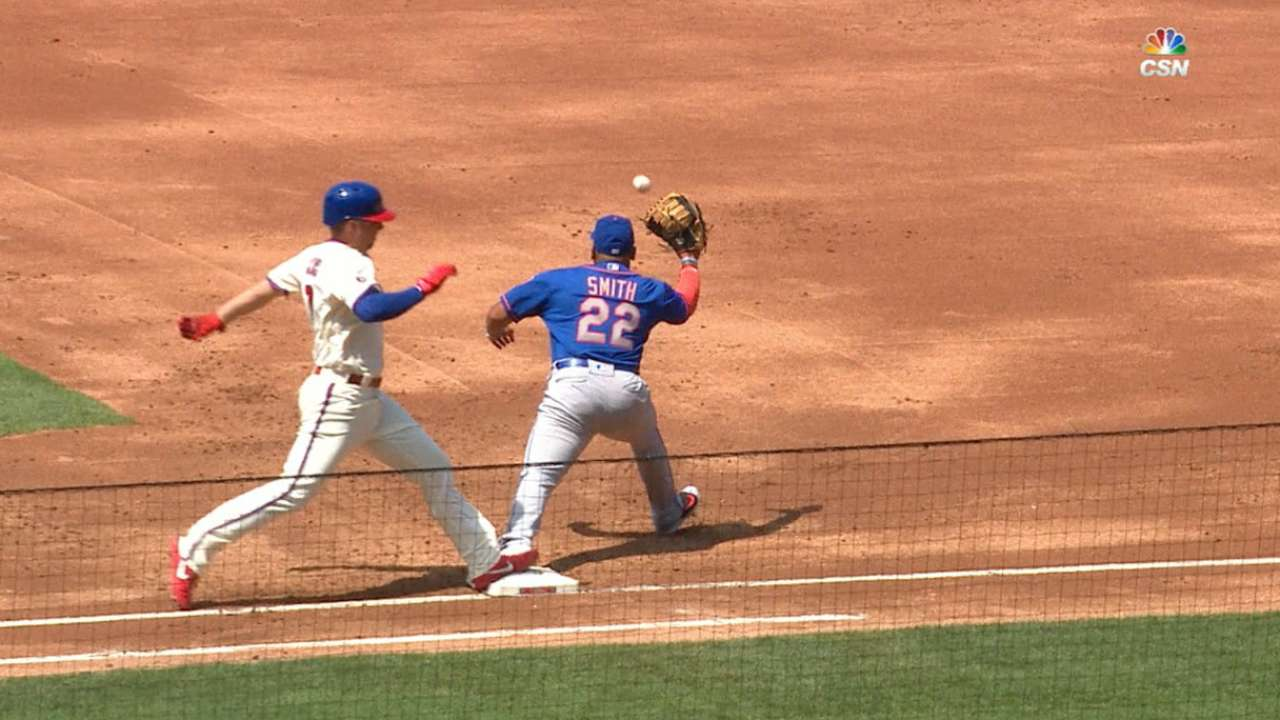 A day of firsts for Hoskins: RBI then base hit