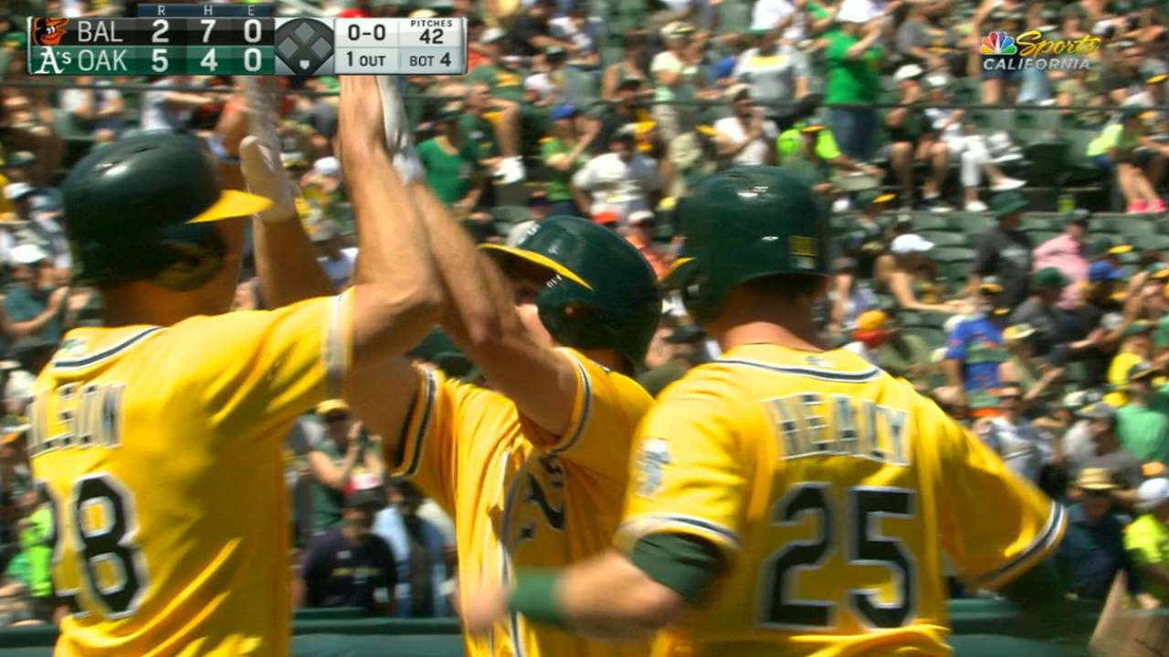 Chapman's 3-run homer lifts A's over Orioles