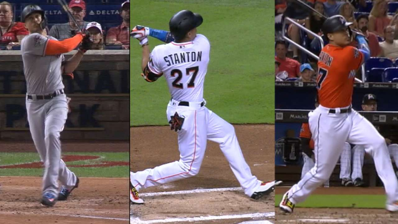 Stanton sets Marlins' mark with 43rd homer