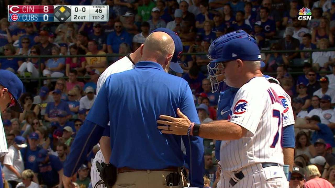 Lester leaves the game