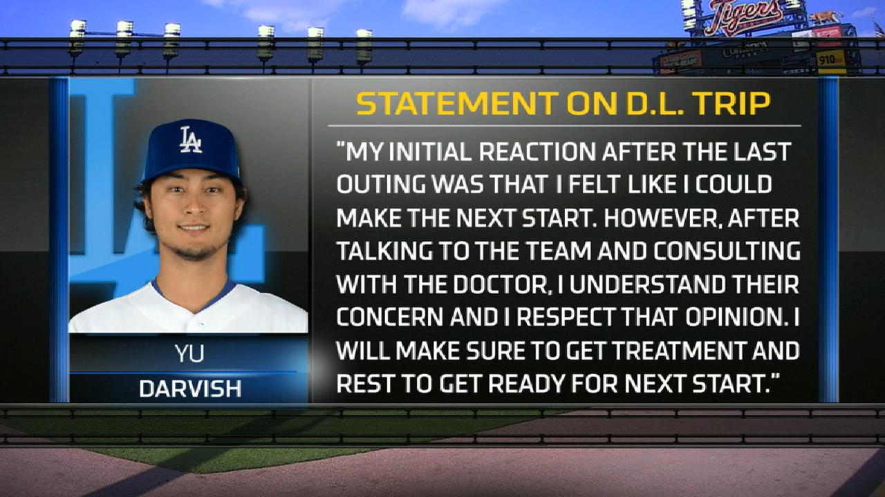 Darvish headed to disabled list with tight back