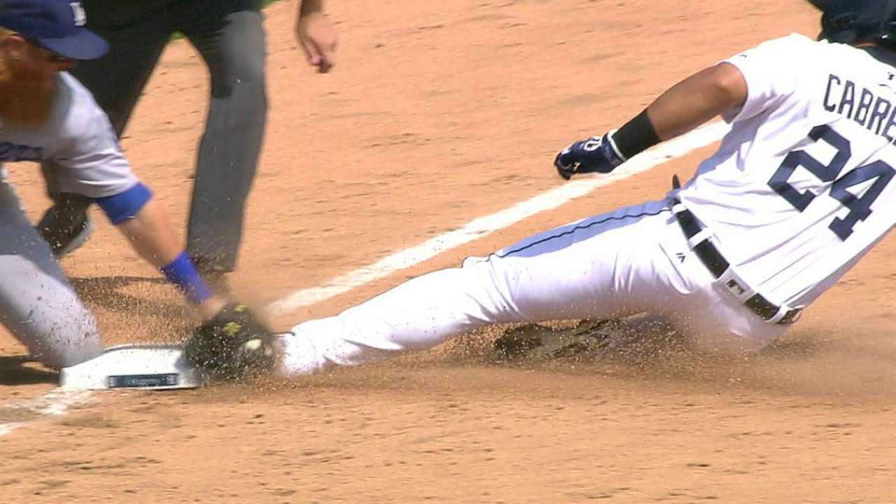 Cabrera ruled safe after review