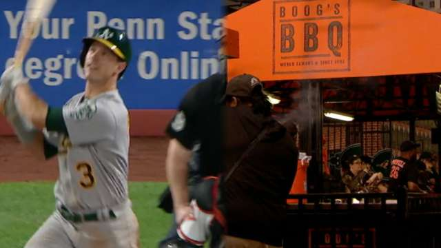 Boog Powell hit his first career home run to ... Boog Powell's BBQ station