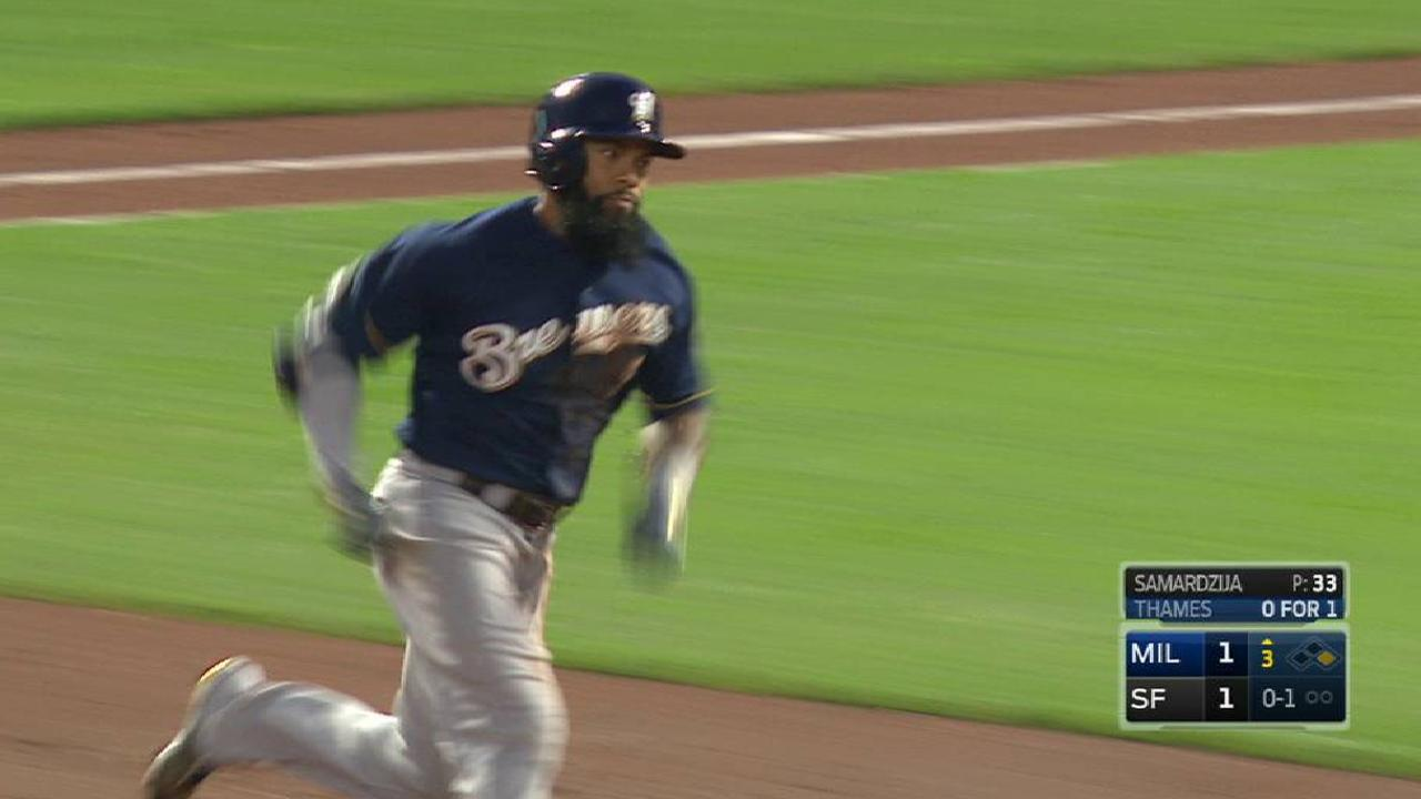 Thames' triple to right-center